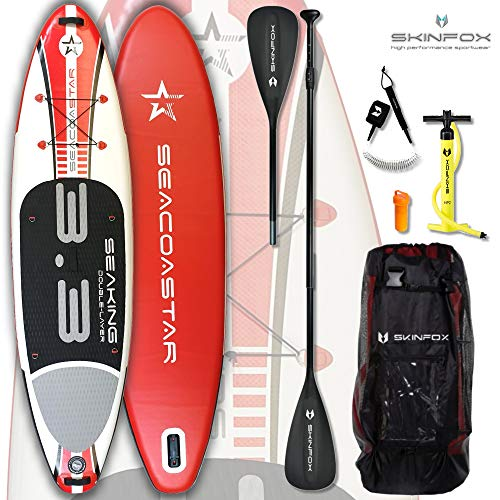 SEACOASTAR SEAKING aufblasbares Double-Layer Inflatable SUP Paddelboard Stand Up 2 lagig sehr kippstabil (325x80x15/Tragkraft 165 kg) ALU-Set rot (Board,Bag,Pumpe,ALU SUP-/Kayak Paddle,+Leash)