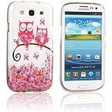 tinxi® Design Schutzhülle für Samsung Galaxy S3 i9300 Hülle TPU Silikon Rückschale Schutz Hülle Silicon Tasche Case zwei pink Eulen auf dem Ast