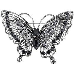 Antigua-inspired violeta tono plata diamantes de imitación de cristal mariposa broche Pin