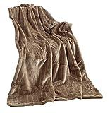 Kuscheldecke 200 x 150 cm Nerzoptik Wohndecke Decke Taupe/Hell Braun