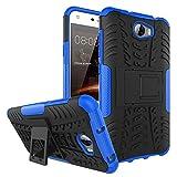 SMTR Huawei Y5 II (5') cas de téléphone, Double Couche Cover Antichoc Case Résistant aux chocs Goutte à l'épreuve Cas de Téléphone Portable Avec Béquille Etui Housse pour Huawei Y5 II smartphone(Huawei Y5 II,bleu)