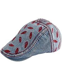 Scrox 1x Hombre Mujer Sombreros Gorras Boinas Moda Retro Bordado Flat Cap  Casual Duckbill Cap Unisex 7f6d27bf260