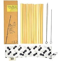 12 Pajitas de Bambú de 20cm | 100% Naturales, Reutilizables, Ecológicas y Lavables | Incluye 2 limpiadores y una bolsita de algodón | Anchos variados | Hechas a mano en Bali.
