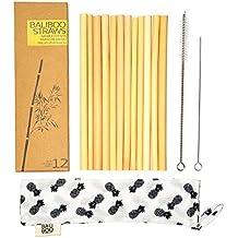 Pajitas de Bambú - 12 Pajitas de Beber de 20cm. Hechas con Bambú Ecológico. Reutilizables, Lavables y Biodegradables.