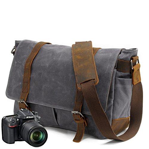 2017 Neue Version-Gute Qualität--90 Tage Garantie- Vintage Wasserdicht Kameratasche Aktentasche herausnehmbar Kamerafach Canvas Leder Umhängetasche Fototasche für DSLR Objektiv Laptopfach SLR-Kamera (Tasche-tag)