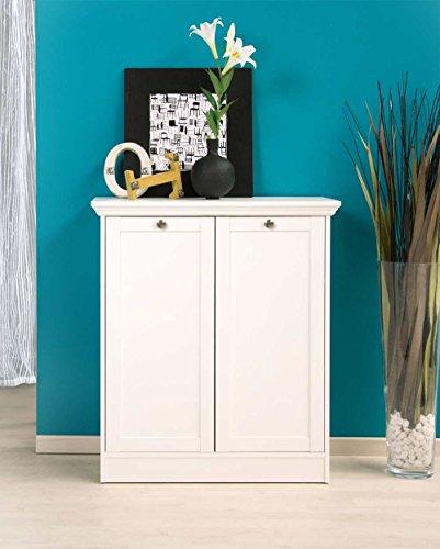 Kommode in weiß, mit 2 Türen und 2 Einlegeböden, hochwertige Rahmenfronten, Metallknöpfe im Vintage-Look, Maße: B/H/T ca. 80/90/35 cm