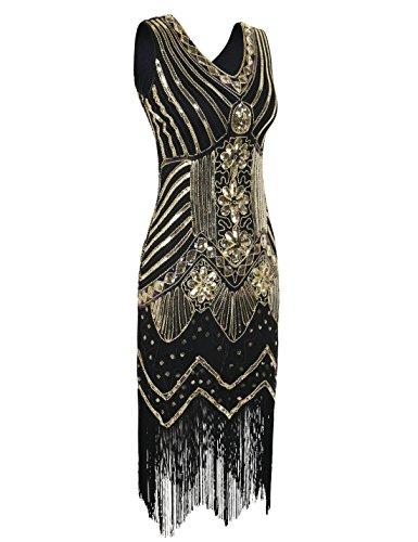 PrettyGuide Damen 20er Jahre Charleston Kleid Pailletten Art Deco ...