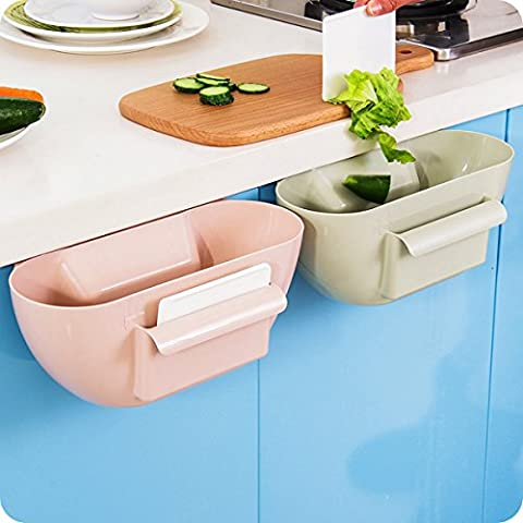 CrazySell Creative Multifuctional Plastic Kitchen Desktop Hanging Food Waste Garbage Bin Rubbish Organizer Trash Junk Box Bedroom Storage Boxes Holder