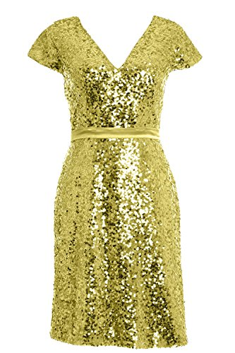 MACloth Elegant Cap Sleeve Sequin Bridesmiad Dress Cocktail Party Formal Gown Light Gold