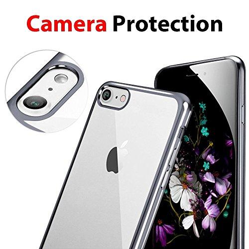 iPhone 7 Hülle, iPhone 7 Tasche, Coodio Chrome Plating Bumper TPU Handyhülle Case für iPhone 7 Tasche Schutzhülle Silikon Cover Durchsichtig für iPhone 7 - Rose Jet Schwarz
