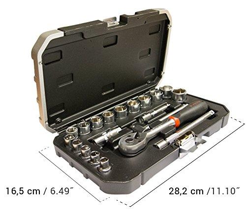 Werkzeugkoffer – Koffer mit Ratschmaulschlüssel und 3/8'' Einsätze 20 tlg, Einsätze 15 tlg 8-22mm und 5 Zubehöre, Koffer mit 3/8''Einsätzen und Zubehören 20 tlg, Werkzeugsatz Ratschmaulschlüssel/Einsätze (20 tlg) - 2
