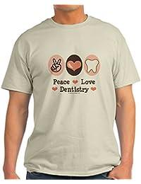 CafePress Peace Love Dentistry Dentist Light T-Shirt - 100% Cotton T-Shirt