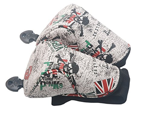 mamimamih Golf Grau Totenkopf Design Fairway Holz Head Covers Schlägerhaube für Titleist Taylormade Callaway Mizuno Cobra Ping Adams Nike (Driver Adams Headcover)