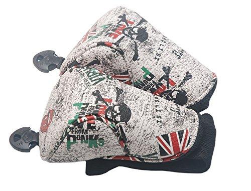 mamimamih Golf Grau Totenkopf Design Fairway Holz Head Covers Schlägerhaube für Titleist Taylormade Callaway Mizuno Cobra Ping Adams Nike (Headcover Driver Adams)