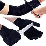 Shaddock Fishing Selbstverteidigungshandschuhe / Schutzhandschuhe, schnittfest, abriebfest, rutschfest, gewebt, schwarz oder weiß, Größe L, 1 Paar, Arm Sleeve+Fishing Gloves(Black)