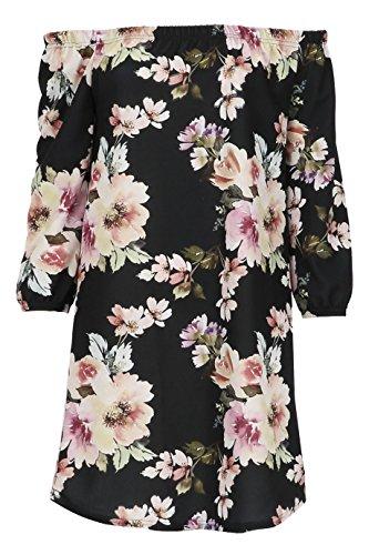 Mesdames Floral Bardot Robe trapèze EUR Taille 36-42 Noir