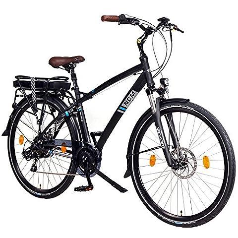 NCM Hamburg 28 Zoll Elektrofahrrad, Herren & Damen Pedelec, E-Bike City Rad, 36V 250W 13Ah 468Wh Lithium-Ionen-Akku & 250W Bafang Heckmotor, mit mechanischen Scheibenbremsen,schwarz