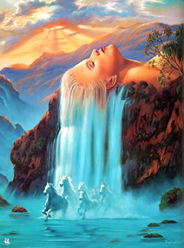 gedruckt Leinwand-Ölgemälde Geschenk für Erwachsene Kinder Malen Nach Zahlen Kits Home Haus Dekor - Blauer Wasserfall 40*50 cm ()