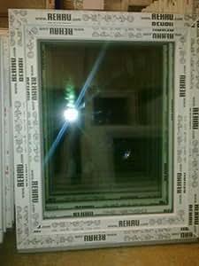 Fenetre plastique 90 x 110 cm (h x b), rehau, pales, blanc, din droite