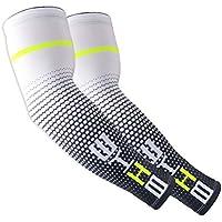 JMM Sport Anti-UV Ärmlinge Herren und Damen Arm Warmers für Radfahren Laufen Golf Basketball Fußball Angeln Wandern Skateboard(Weiß)