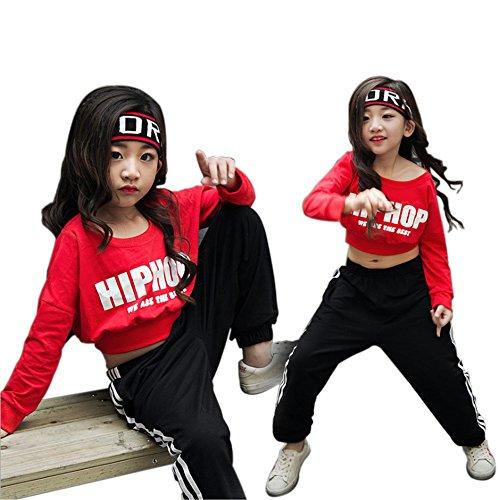 Moyuqi Mädchen Ballsaal Jazz Street Dance Kostüme Crop Tops Hemd und Hose - 170 cm (Girl Street Dance Kostüm)