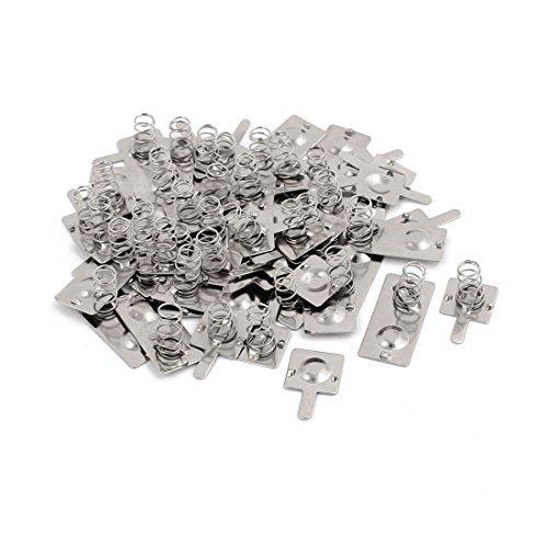 DealMux 17 Sets 2 x AA Batterien Positiv Negativ Federteller Silber Ton