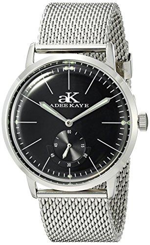 Adee Kaye uomo ak9044N-m/BK vintage Slim analogico display orologio meccanico vento mano argento
