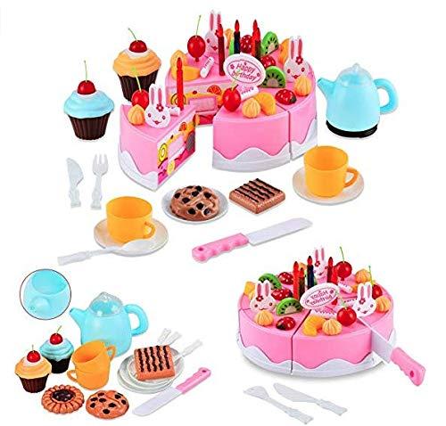 Itian 54pcs Magische Küche Regenbogen Kuchen-Tee-Set, Kreative Montage Spielzeug (Rosa) -