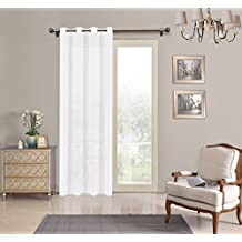 Cortina translucida con 8 ollao (1 unidad X 140x260) para salón, habitación y dormitorio.Cortina Traslucida. Modelo Clara (BLANCO)