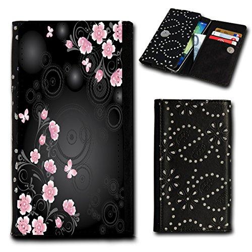 Strass Book Style Flip Handy Tasche Case Schutz Hülle Foto Schale Motiv Etui für HTC One M8S - Flip SU2 Design1