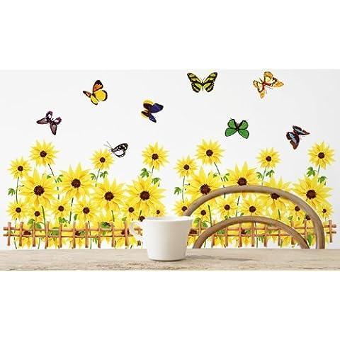 Con girasoli in una recinzione, con farfalle, colore: giallo, adesivo da parete, motivo decorativo floreale, adesivo