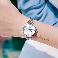 HK Reloj de Pulsera Resistente al Agua de Moda de Mujer,Blanco Plateado