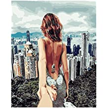 """Huijun DIY ölgemälde Malen nach Zahlen 15.75x19.69""""für Erwachsene, Kinder Leinwand-Dame mit Einem Nackten Rücken(Frameless)"""