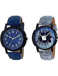 The Shopoholic Combo Latest Fashionable Blue And Black Mahadev Dial Analog Watch For Boys -Combo Watch Couple