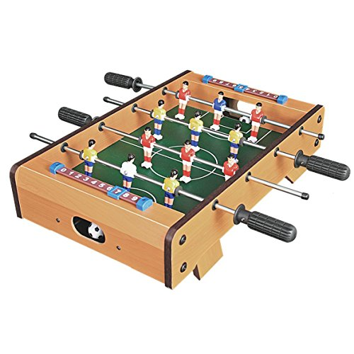 Invero� Deluxe Mini Wooden Table Top Football Foosball Family Fun Game - Indoor and Outdoor Soccer Set includes 12 Men, 2 Balls, 2 Scorers - 51 x 51 x 10 cm