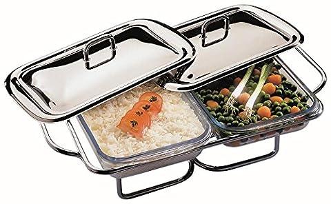 APS Edelstahl Speisenwärmer 45 x 29 x 12cm, mit zwei Deckeln und zwei 1,5L Servierschalen aus Glas, 2 Stövchen