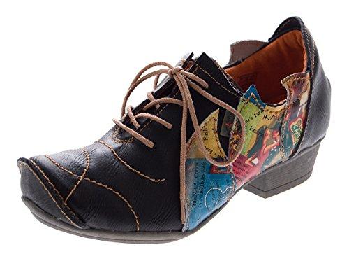 TMA Leder Damen Halbschuhe Schnürer Schwarz Comfort Schuhe echt Leder Pumps TMA 8088 Gr. 39 (Halbschuhe Leder Damen)