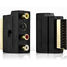 Adaptador de euroconector a 3 x RCA conectores deleyCON en/conmutador + S-VIDEO/Audio S-VHS AV, adaptador de vídeo [contactos dorados]