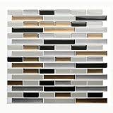 Vamos Tile - Panel de azulejos antisalpicaduras y antimoho de gama alta, lámina autoadhesiva de azulejos para cocina y baño, solo hay que pelar y pegar, extraíble, 27,94 x 23,37 cm (6 láminas)