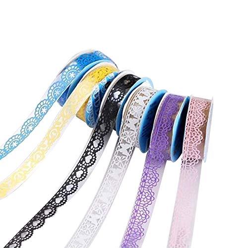 YuamMei 5 rollos de cinta de encaje hueca para manualidades DIY papel adhesivo de carrocería decorativo para scrapbooking y teléfono (color al azar, patrón)