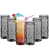Tiki cóctel vasos de bebidas con diseño hawaiano tazas para fiestas/bar, verano Punch, vidrio, Gris, Six Glasses