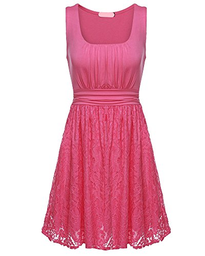 Robe de Cocktail Femme Elégant Sans Manches Dentelle Col Rond Mini Robe de Soirée pink
