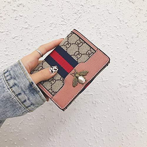 Bedolio Damen Bedruckte Geldbörse Schnalle PU einfarbig Kurze Brieftasche genähte Linie Soft Face, Pink - Genähte Linie