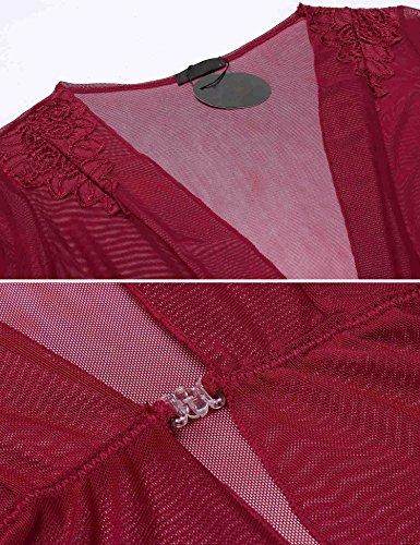 ADOME Damen Semi-Transparent Netz Schieres Kimono Robe Morgenmantel einfarbig 4 Farben Dunkel Rot