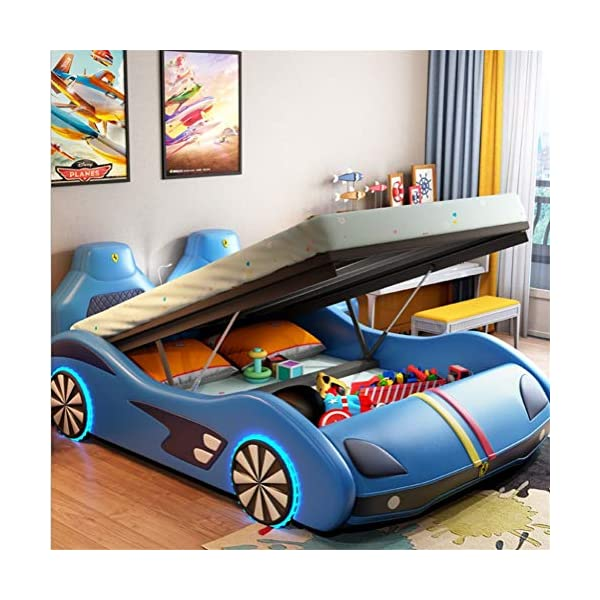 ZXM Children's car bed solid wood multi-function running lathe single boy girl cartoon creative leather belt Toddler Bed With mattress, stereo, LED lights (Color : White, Size : 180 * 200cm) ZXM ★ High quality solid wood: the internal frame is made of high quality solid wood, which has been dried for many times at high temperature to prevent mildew, deformation, cracking, and is strong and durable. With high quality Napa leather, silky, soft and wear-resistant. ★ The bedside led induction light can identify the brightness of the surrounding environment.The induction function can be turned on only under the touch condition, which can save power and stand by for a long time. Smart Bluetooth Audio: can play music, bedtime story, give children more company. Wheel light, anti-collision at night ★ Attached Guardrails: Attached guardrails will ensure your little one is safe and secure throughout the night. A low mattress height makes it easy for kids to enter and exit on their own, reinforcing their big-kid independence. 2