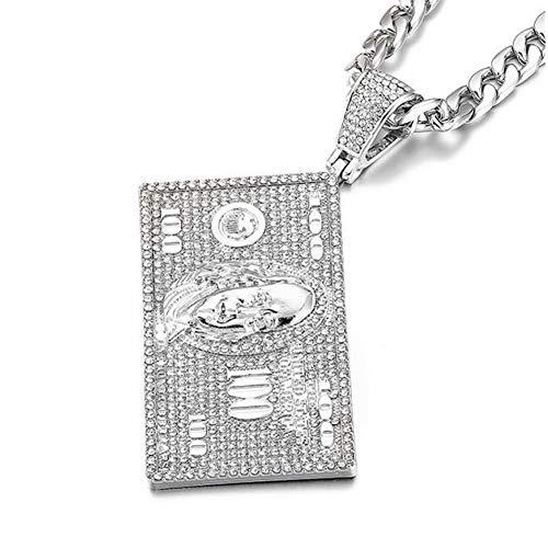 XIAOSO Dollar Franklin Kopf Anhänger Iced Out Shining Crystal Neckalce Charme Kubas Halskette Männer Hip Hop Schmuck (Charme Silver Dollar)