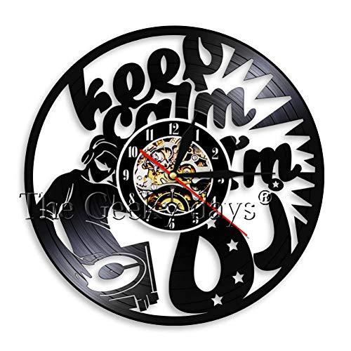 Agilyl DJ Platine Hip Hop Horloge Murale Discothèque Musique Studio Mural Art Vintage Disque Vinyle Horloge Murale Amateur De Musique DJ Ami Cadeaux