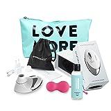 Womanizer Pro Weiß Set Klitoris-Stimulator für sie mit Liebeskugeln + Gleitgel + Toybag + XL-Stimulationsaufsatz, von AMORELIE