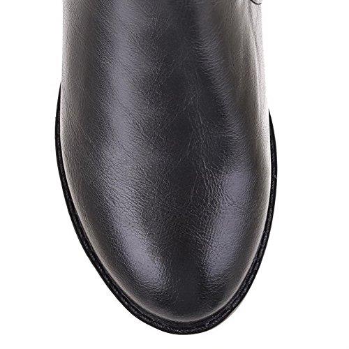 AgooLar Damen Niedriger Absatz Weiches Material Hoch-Spitze Rein Ziehen Auf Stiefel Schwarz