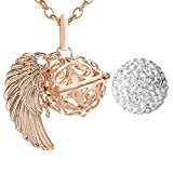 Morella Collar ángel de la Guarda de Acero Inoxidable Oro 70 cm con Colgante alas de ángel y Bola de resonancia de circonita de Color Blanco 16 mm para Damas en Bolsa para Joyas